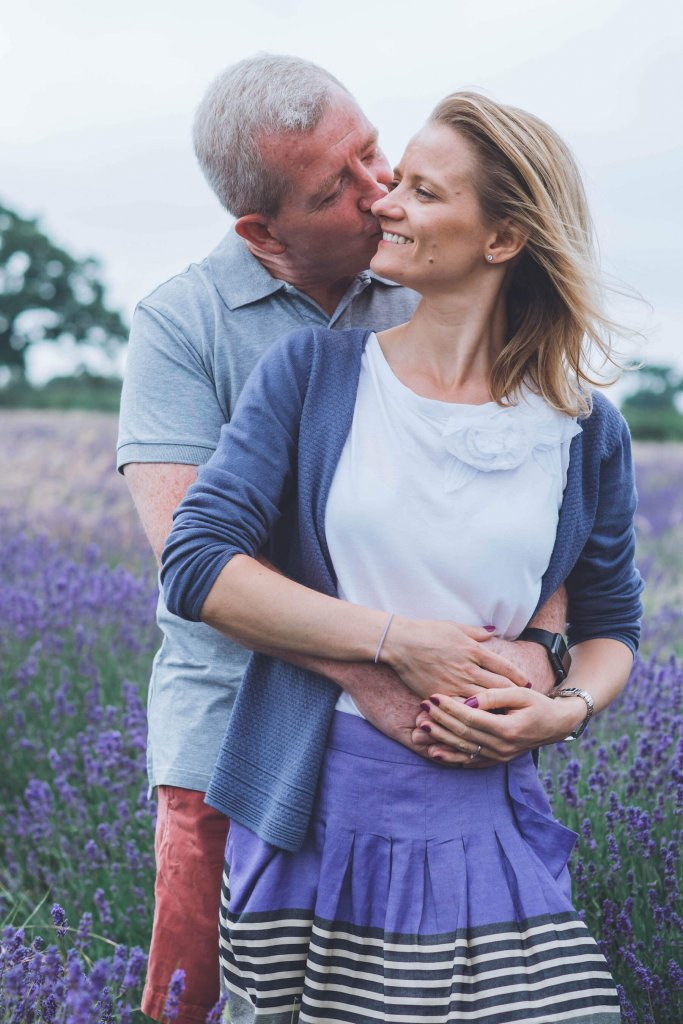 couple kissing in lavender fields wedding photography