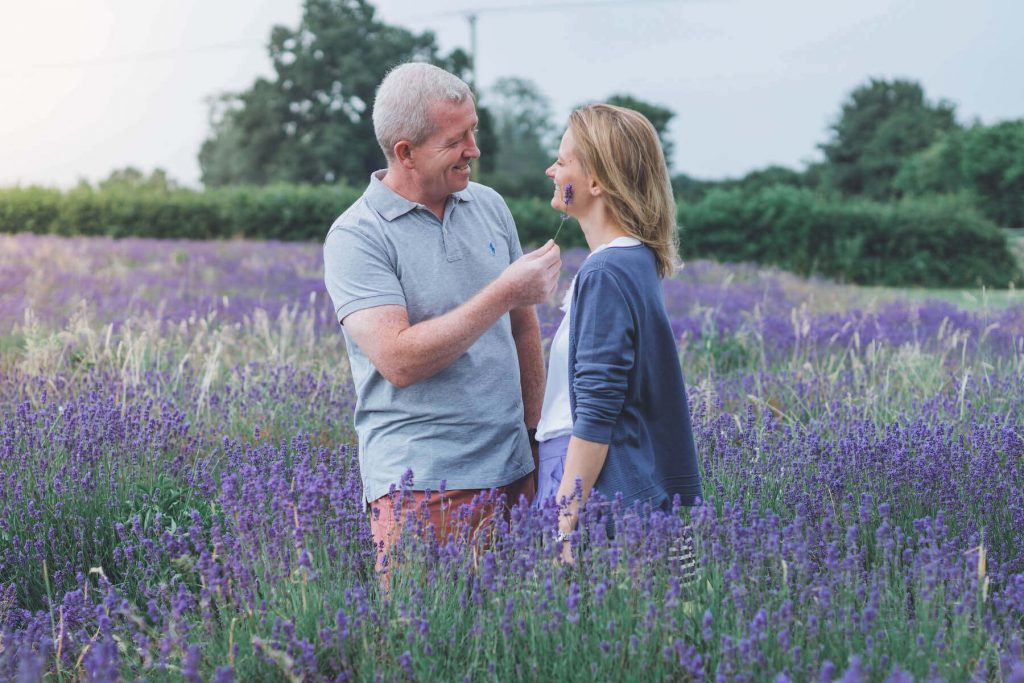 happy couple in lavender fields wedding photography